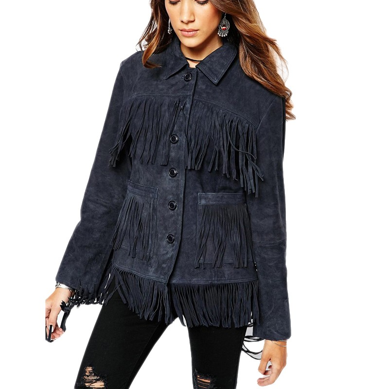 2015 Fashion Autumn Winter Women Jacket Europe Luxury Tassel Suede Jacket Stitching Single Breasted Coat Female Outwear JT257 (3)