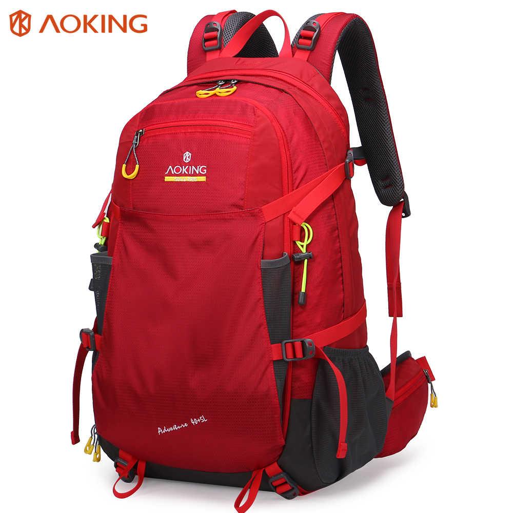 Aoking Large Trekking Backpack Adjustable Buckle SOS Whistle Hiking Backpack With Expandable Headphone Pocket Laptop Backpack