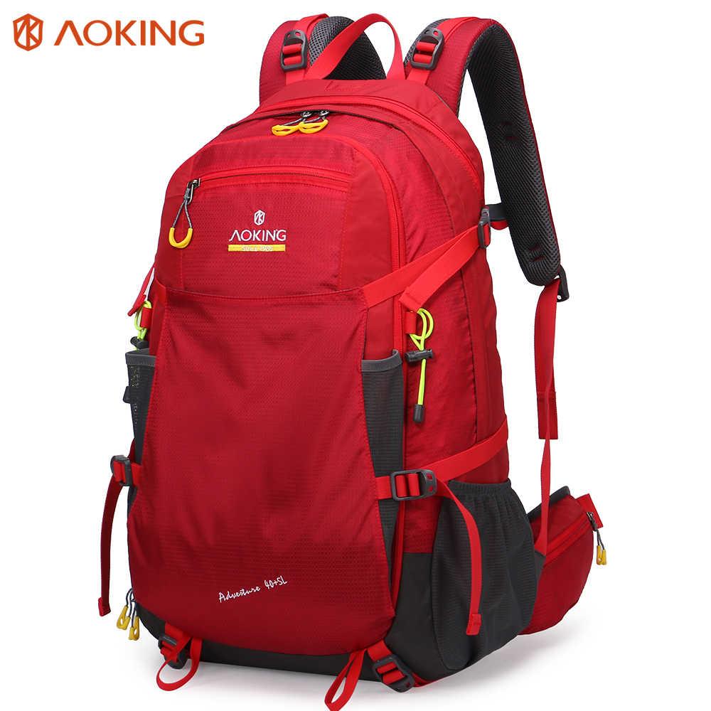 Aoking Large TrekkingBackpack Adjustable Buckle SOS Whistle Hiking Backpack With Expandable Headphone Pocket Laptop Backpack