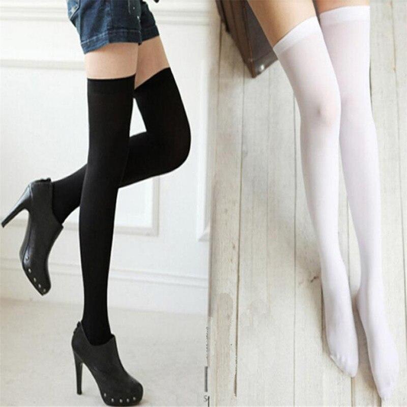2019 Fashion Black White Autumn Ladies Velvet Over Knee Socks Stockings Thigh High Socks Ladies Girls Sexy Stockings 3.4