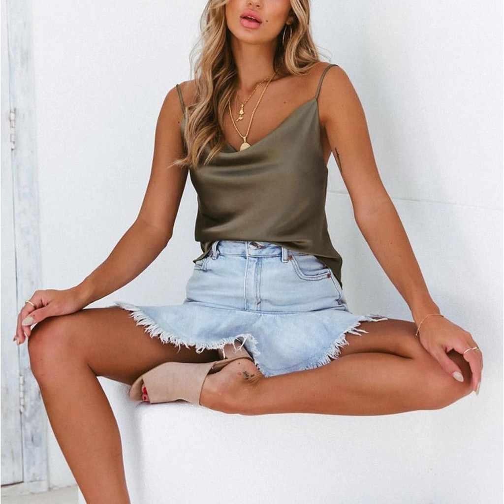 섹시한 modis 탑스 여성 솔리드 조절 캐주얼 Strappy 새틴 탱크 탑스 빈티지 여름 파티 t 셔츠 streetwear 탑 roupas # sw