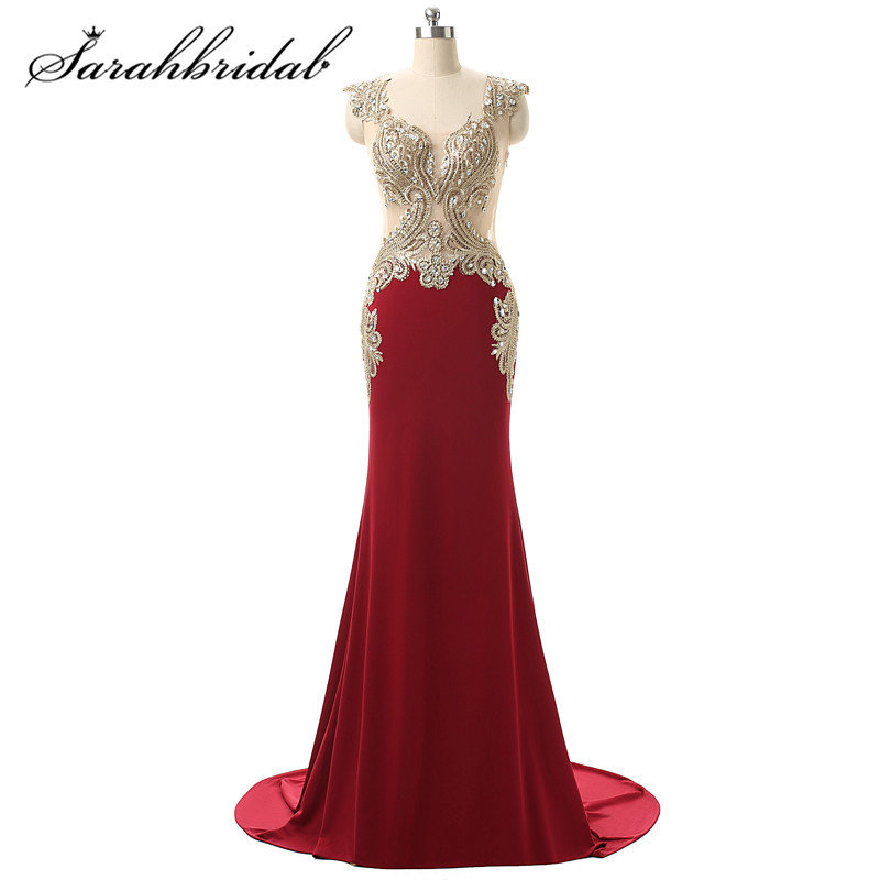 Royal Blue Mermaid Floor-length Formal Evening Dress Gold Lace Real Photo Evening Gowns 2015 Fashion Embroidery Long Dress YD003