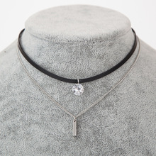 Fashion Cubic Zirconia Pendant Choker Necklace women Double Black Velvet Leather chockers chain Collier Boho Crystal Jewelry