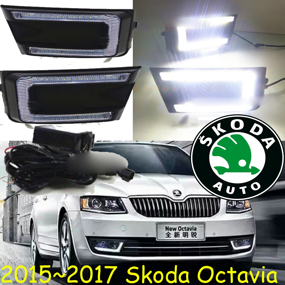 LED DRL for Octavia A5 2015 2016 2017 year Daytime Running Light with Fog Lamp House accessories,yeti for skoda octavia drl daytime running light for octavia fabia 2010 13 drl led fog lamp fog light 2012 drl free shipping
