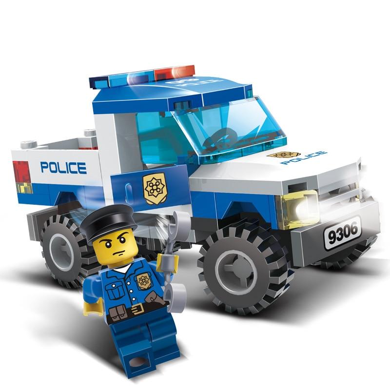 84Pcs Children Blocks Toys City Police car Blocks Toys Assembled Building Educational DIY Toys for Kids compatible with Legoe