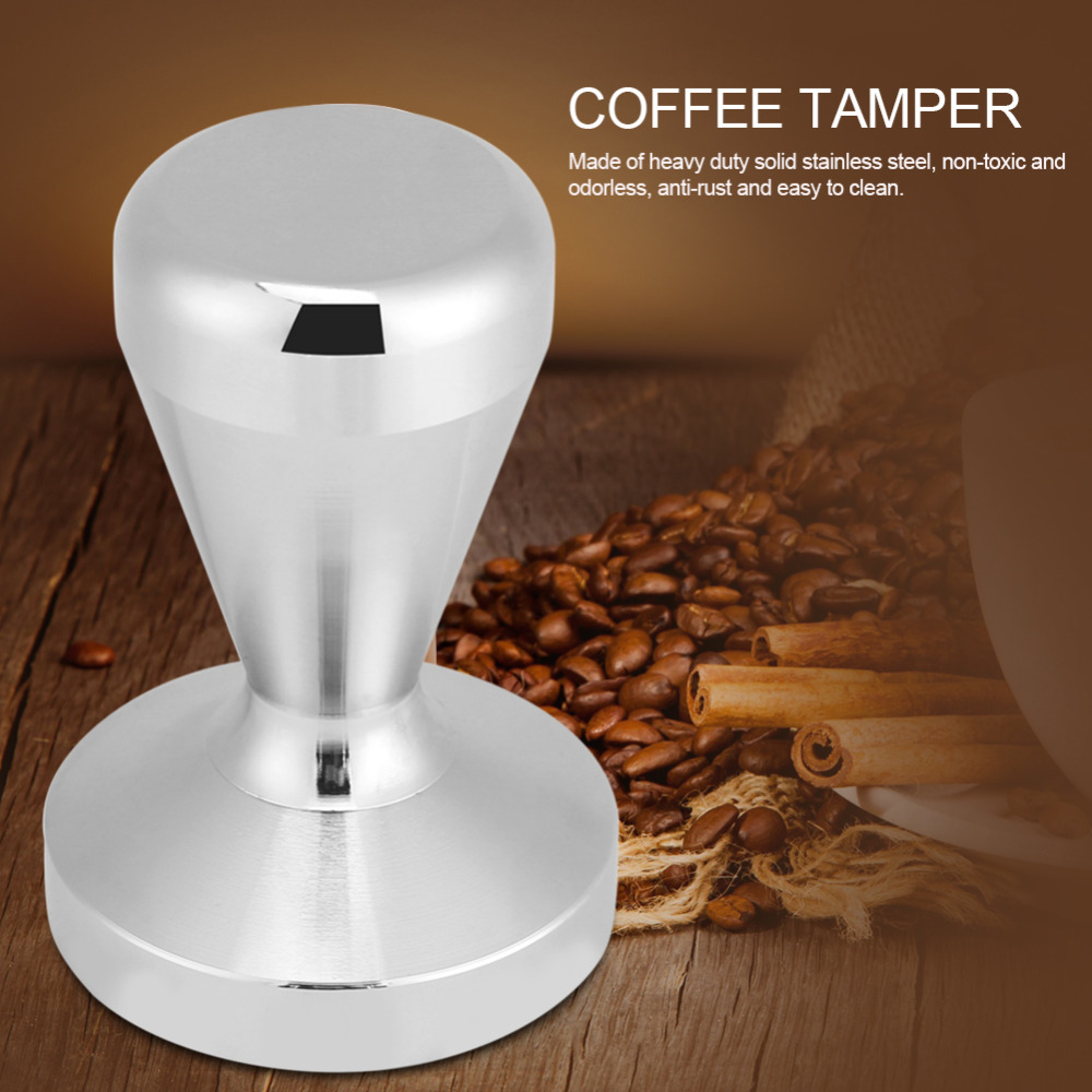 Espresso Coffee Tamper Wood Handle 57mm 58mm Stainless Steel Timber Accessory