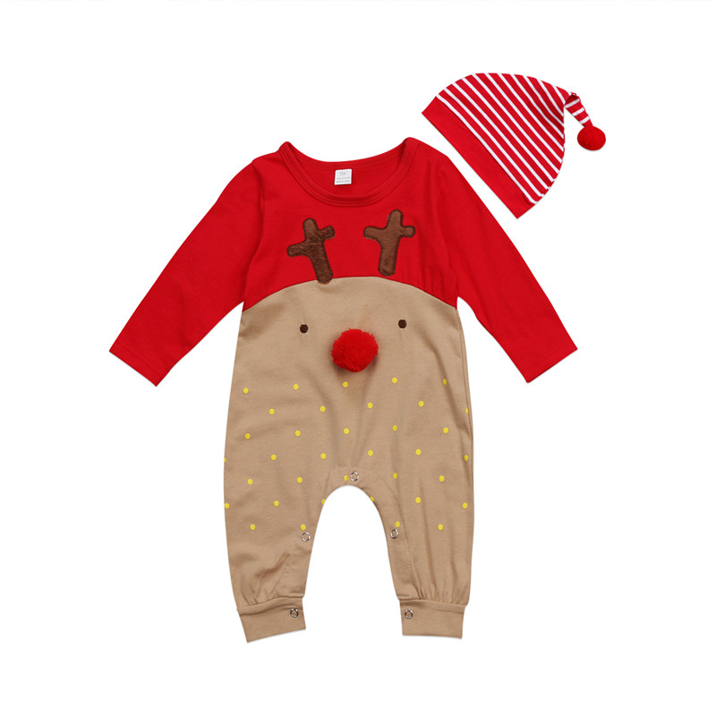 2017 Xmas Newborn Baby Boy Girls Clothes Christmas Reindeer Long Sleeve Romper+Hat Playsuit Outfit Baby Clothing 0 to 24M gentlemen style striped baby boy romper playsuit