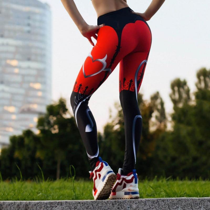 Kaminsky Casual Printed Leggings Women Push Up High Waist Leggings Femme Elastic Workout Trousers Red Heart Leggings