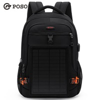 POSO New fashion 15.6 inch USB backpack disassemble solar charging Laptop bag Business package computer Bag free shipping