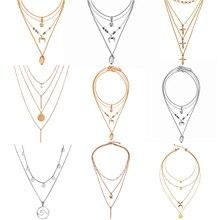 2018 nuevo multicapa cristal Shell colgante Luna collares para mujeres Vintage encanto gargantilla collar declaración joyería de fiesta de regalo