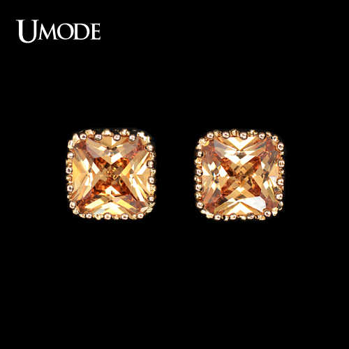 UMODE 1cm Square Champagne Color AAA+ CZ Stone Cute Stud Earrings Best gift For Women UE0094