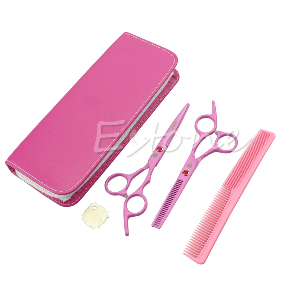 Professional Barber Hair Hairdressing Scissors Thick Dense Comb Set Cutting Thinning Shears Stainless Steel Pink Texturising ostin футболка с новогодним принтом
