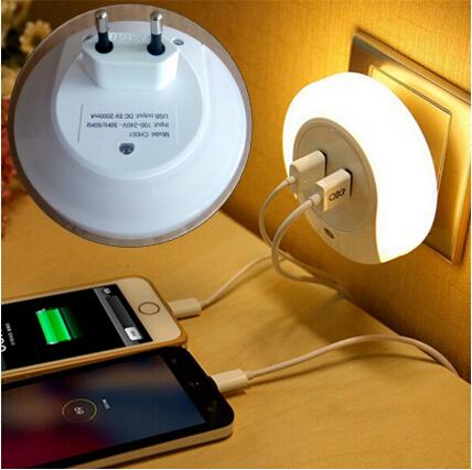 diseo inteligente led de luz nocturna con sensor de luz y dual usb placa de pared