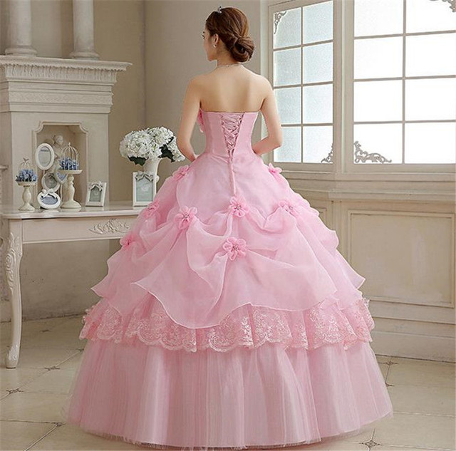 Real Photo vestido de noiva de 2017 New Koreal Style Flowers Strapless Pink Red Princess bridal Wedding Dress Lace Up Ball Gown 1