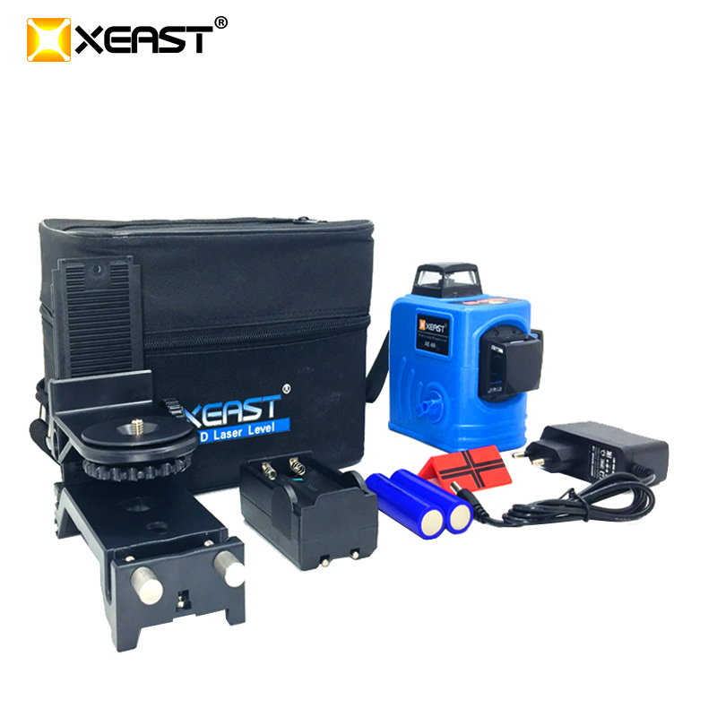 XEAST XE-68 3D Laser Levels 12 Lines Cross Level with Tilt Function and Self Leveling Outdoor 360 Rotary Red Laser