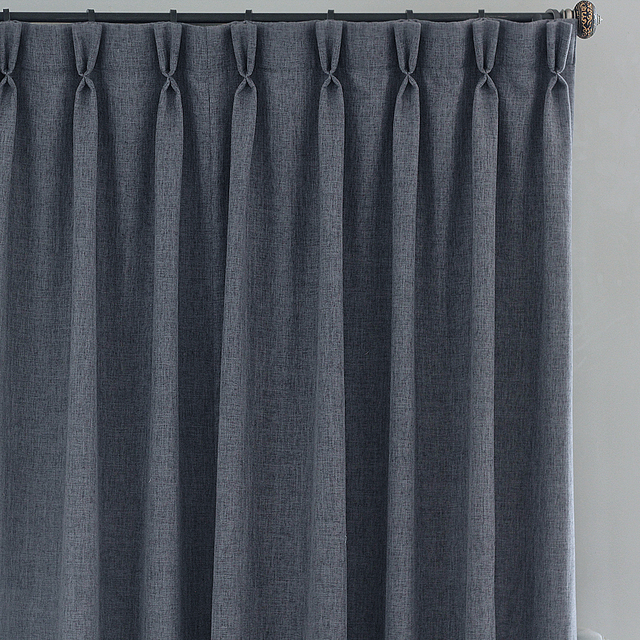 Grey Dark Blue Solid Colors Faux Linen Chic Modern Simplicity For Bedroom  Living Room Window Curtains