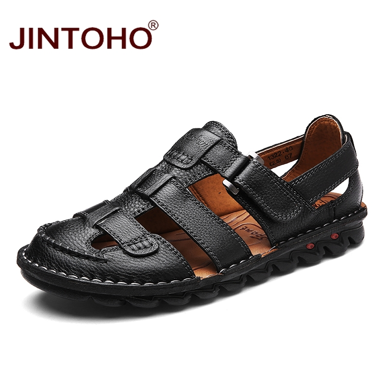 JINTOHO 2018 New Brand Mens Leather Sandals Fashion Male Genuine Leather Sandals Dress Gladiator Leather Sandals