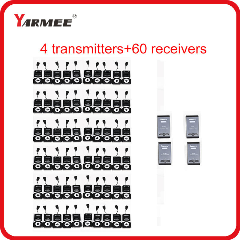 YARMEE 60 Receivers 4 Transmitters YT100 Audio Guide System Wireless Tour Guide System Whisper Radio Equipment for Museum стол кухонный альфа 1 ящик 600х600х850мм коричневый глянец