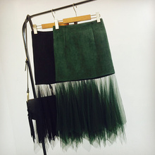 Dophee Women Gauze Stitching Suede Tail Skirt Female 2017 New Design A-line Bag Hip Perspective Mid-calf Skirts Black/army Green