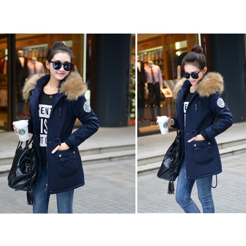 Adjustable Waist Women Parkas Big Pockets Fur Hooded Long Coats Female Outwear Cotton Warm Winter Ladies Jackets Coat MDEW541 2