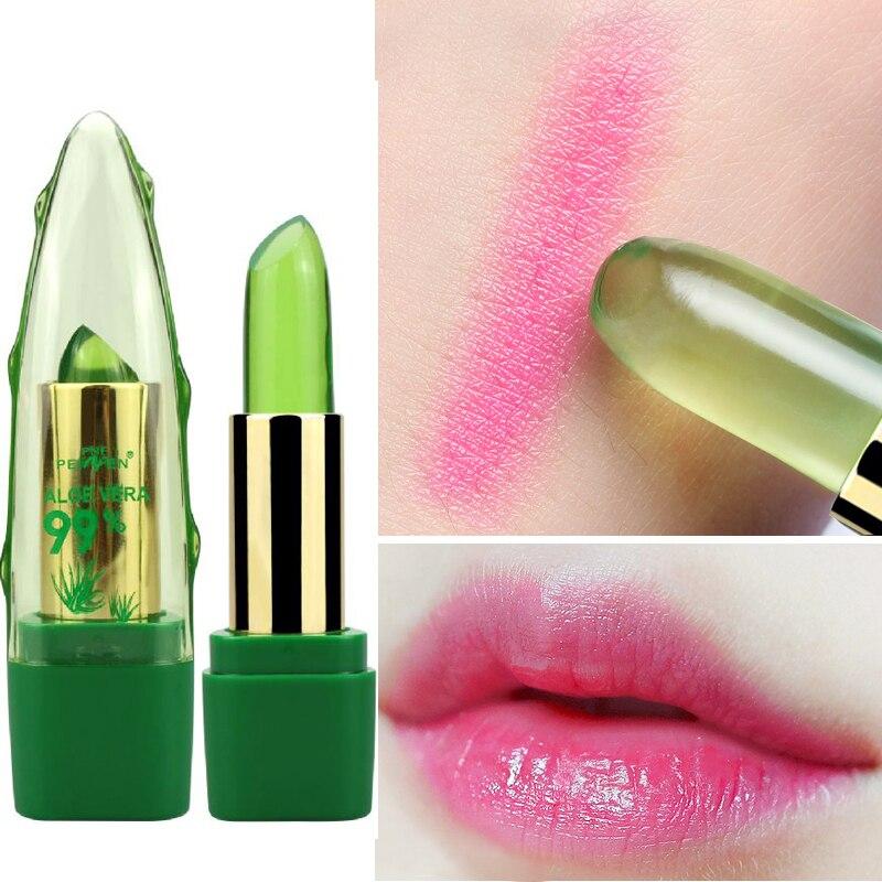 New Batom 99 ALOE VERA Natural Temperature Change Color Jelly Lipstick Long Lasting Moistourizing Lip Makeup Tint Balm in Lipstick from Beauty Health