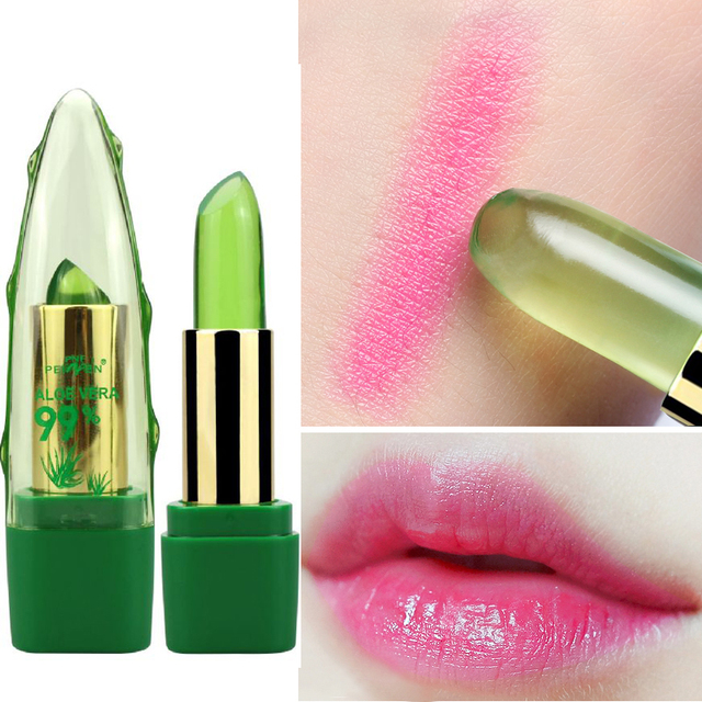 New Batom 99% ALOE VERA Natural Temperature Change Color Jelly Lipstick Long Lasting Moistourizing Lip Makeup Tint Balm 1