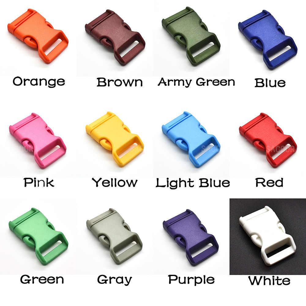 """1 adet/paket 3/4 """"(20mm) renkli konturlu yan gevşetilir tokalar Paracord bilezik için 12 renk"""