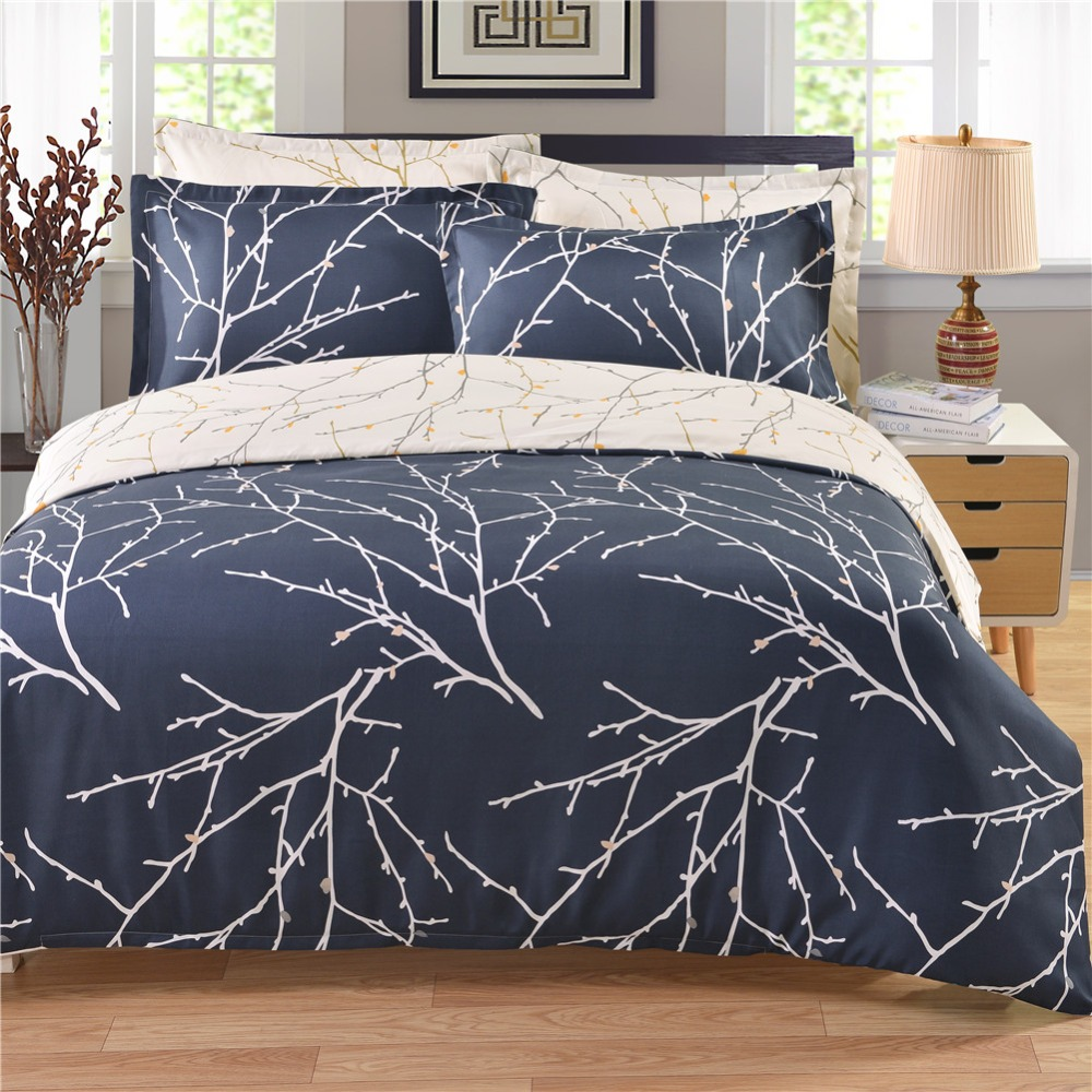 2017 Printed Branch Plant Bedding Sets Twin Queen King