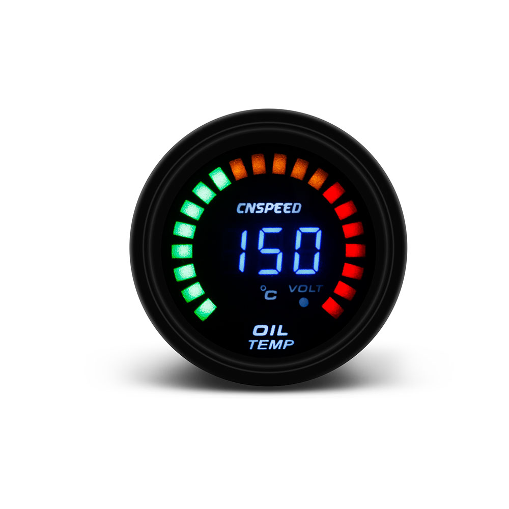 CNSPEED 2 inch 52mm Digital LED Oil Temp Gauge Car Simulate Oil Temperature Gauge With Sensor Smoke Car Meter цена 2017