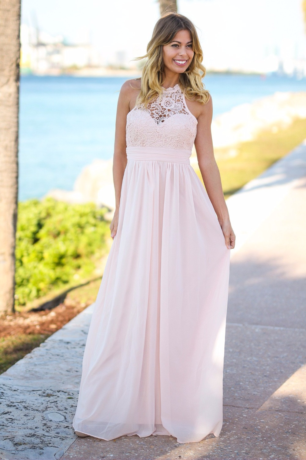 Light Pink Country Long Bridesmaid Dresses Sleeveless A