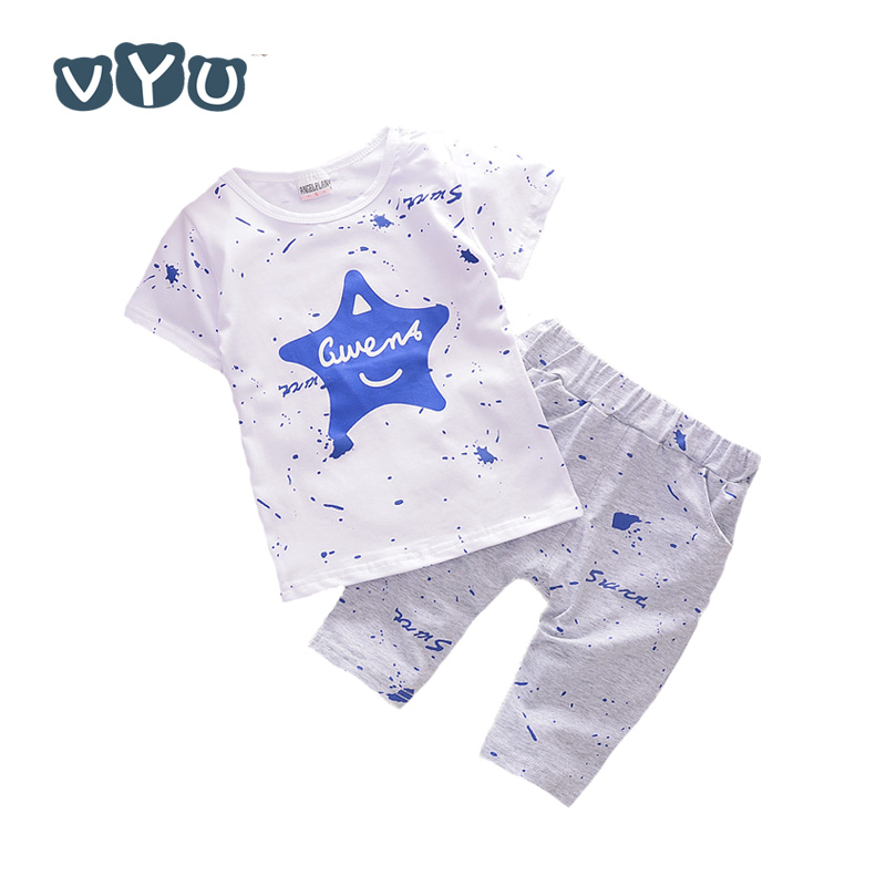 VYU Summer Boys & Girls Clothes Baby Set Kids Clothing Sets Star Toddler Boys Short Sleeved T-Shirts+Children Shorts 2pcs Suit new 2017 summer children 2 pcs set kids clothes boys letter striped t shirts and jeans shorts pants boys children clothing sets