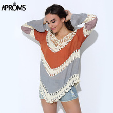 Aproms Boho Multicolor V-Neck White Lace Crochet Women Blouse Plus Size Autumn Beach Kimono Lady Shirt Tunic Tops Blusa Feminina