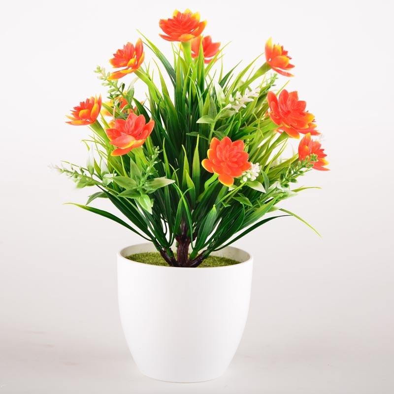 La petite fleur de lotus simulation gros de fleurs en plastique décoration Ameublement en pot bonsaï fleurs artificielles pas cher