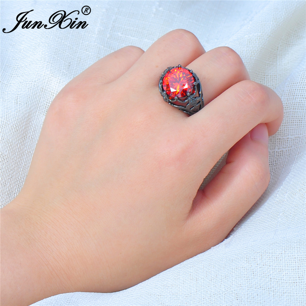 Junxin Size 5 11 Male Female Big Round Red Ring Fashion Black Gold ...
