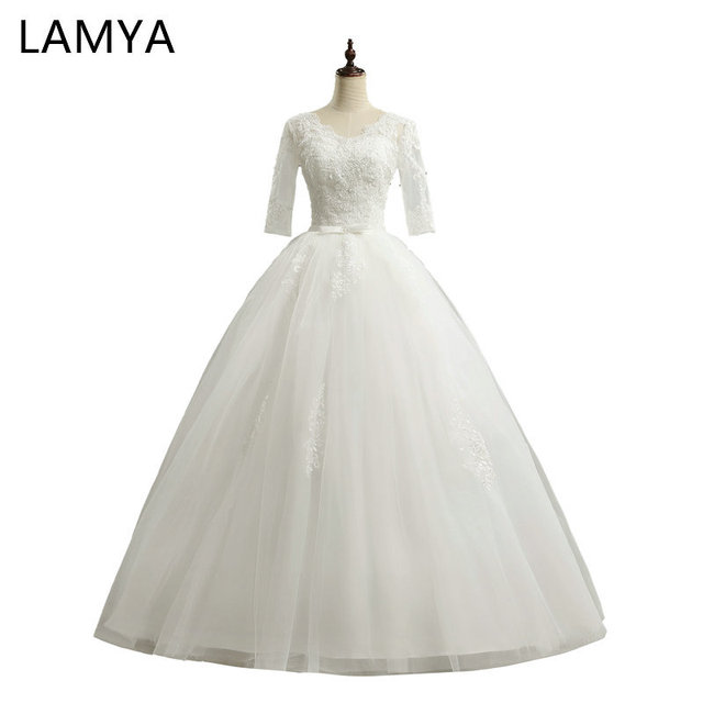 LAMYA Cheap Half Lace Sleeve vestidos de noiva Wedding Dresses 2019 Sexy V Neck Bridal Dress Customized Elegant Bridal Gowns
