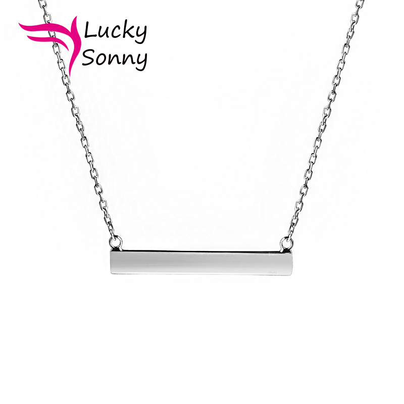 New Urban Trend Horizontal Silver Bar Pendant Chain Necklace Minimalist Jewelry Wholesale Solid 925 Sterling Silver