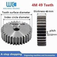 4M 49 Teeth Motor Metal 45# Steel Gear Wheel 4 Modulus Top Screws