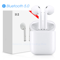 I12 СПЦ Bluetooth наушники беспроводной Touch управление 3D Surround Sound и зарядный чехол для iPhone телефона Android