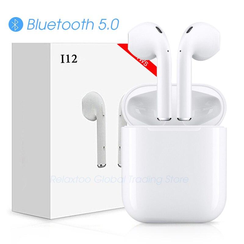 I12 tws fone de Ouvido Bluetooth Sem Fio fones de ouvido Fones de Ouvido controle de Toque 3D Surround Sound & caso De Carregamento para iPhone Android phone