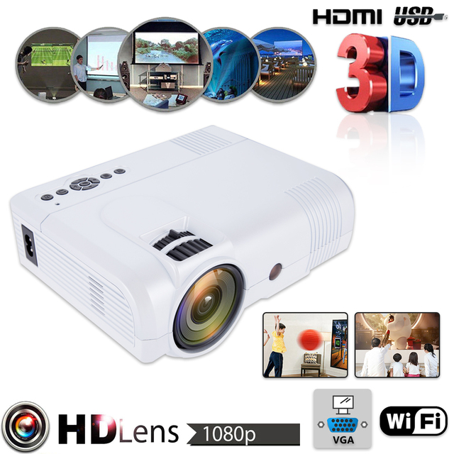 Best Price 3D 1080P L8 WiFi Version Mini Projector Full HD Home Theater Projector Multimedia VGA USB HDMI LED Projector