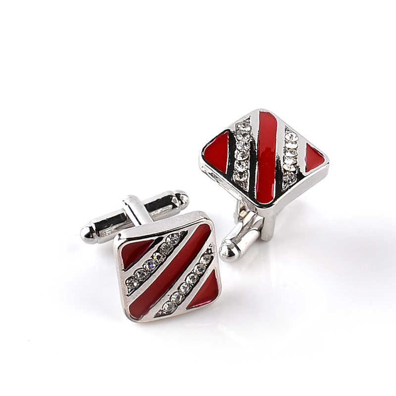 Stripe Enamel Cufflinks For Mens Birthday Wedding Rhinestone Triangle Cuff Links black red Cufflink women Valentine's Day gift