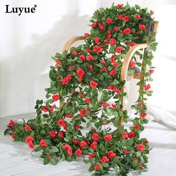 Luyue 230cm Artificial Flower Vines Wedding Decor Rose Fake Flowers Rattan String Garden Hanging Garland Silk Flower Plant Leaf