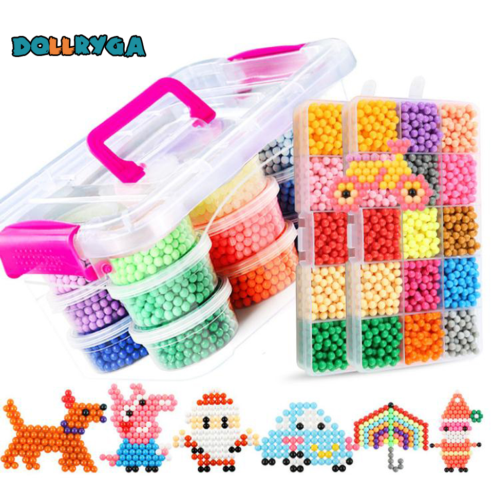 DOLLRYGA 400Pcs/Box 24 Colors Beads Jewel Bead Refill Pack Magical Beads Set Water Sticky Beads For Childrenmaking For Kids