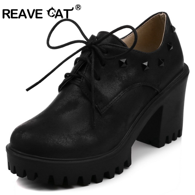 Reave Cat Office Las Shoes High Heels Fashion Graceful Women Pumps Lace Up Pattern Square