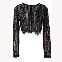 Женская Весенняя Осенняя Черная Кружевная блуза с длинным рукавом, укороченный топ, открытая Офисная Женская рубашка