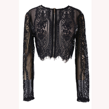 Woman Spring Autumn Black Lace Long Sleeve Blouse Crop Top Hollow Out office lady