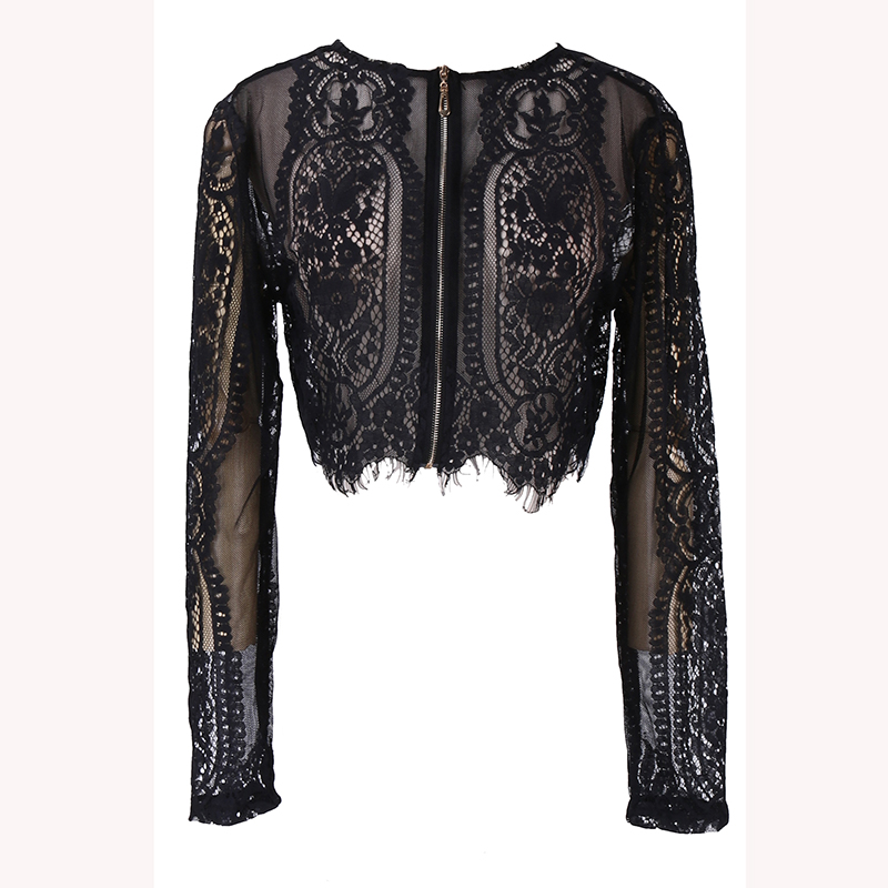 Woman Spring Autumn Black Lace Long Sleeve Blouse Crop Top Hollow Out Office Lady Shirt