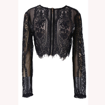 Woman Spring Autumn Black Lace Long Sleeve Blouse Crop Top Hollow Out office lady Shirt lace ruffle short crop top long sleeve hollow out black slim sexy backless korean spring white pink cardigan shirt women blouse