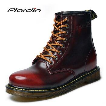 Plardin hombres botas de cuero genuino invierno botas de nieve plataforma de moda tallada Oxford hombres zapatos vaca Split botas Zapatos hombres planos