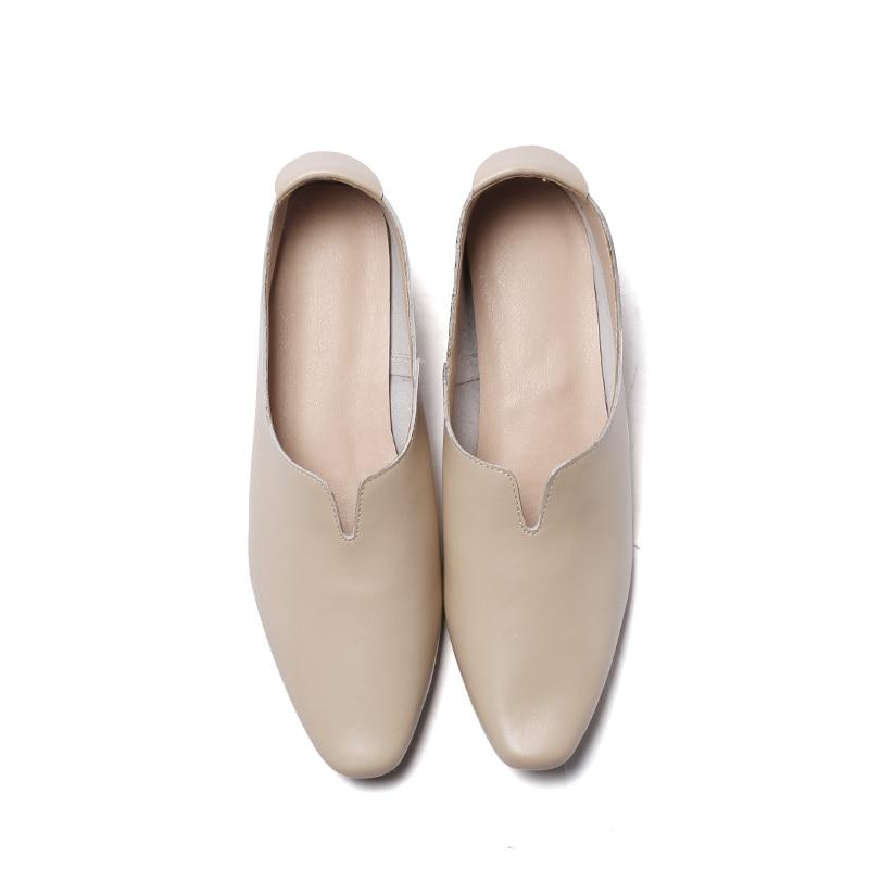 Cuir Printemps Mode Chaussures Mouillé 2019 Casual blanc De Femmes Épais Carré Véritable Med Baiser En Nouveau Apricot Bout Femme Talons Pompes NPOk0X8nw